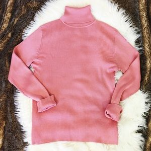 LOFT Bubble Gum Pink 100% Silk Turtleneck LS Top